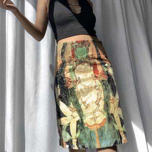 Vivienne Tam Vintage 90s Buddha Velvet Midi Skirt